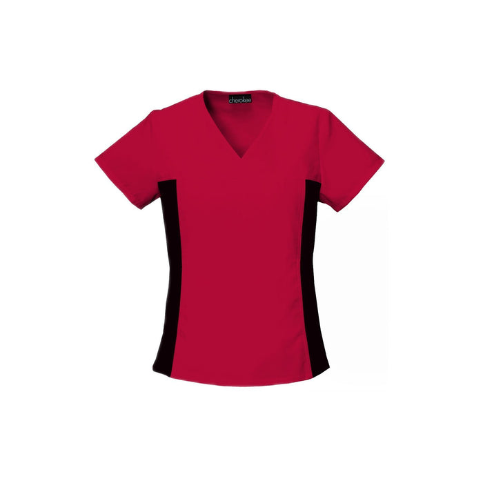 Cherokee Scrub Top Flexibles (Contrast Black) V-Neck Knit Panel Top Red Top