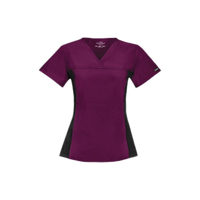 Cherokee Scrub Top Flexibles (Contrast Black) V-Neck Knit Panel Top Wine Top