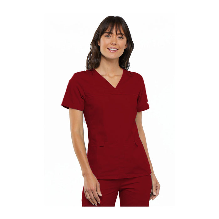 Cherokee Scrub Top Flexibles (Tonal) V-Neck Knit Panel Top Red Top