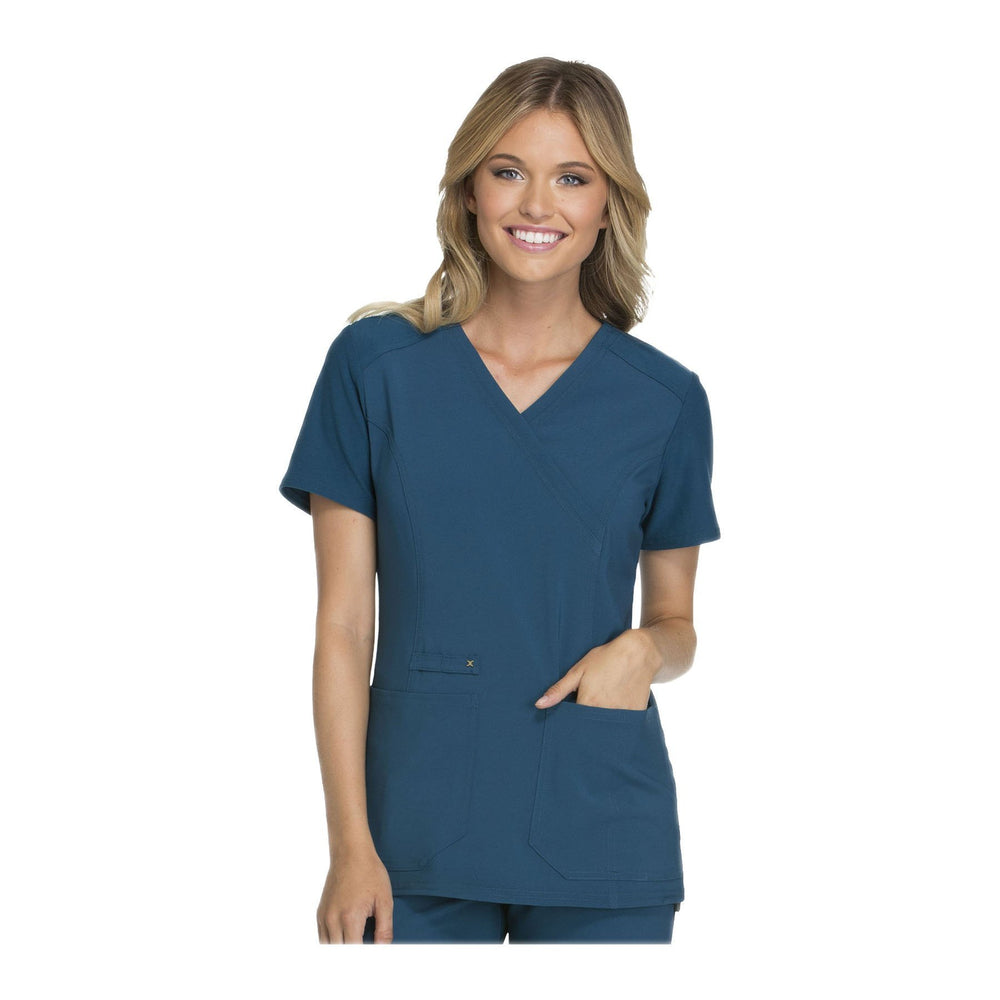 Cherokee Scrub Top iflex Mock Wrap Knit Panel Top Caribbean Blue Top