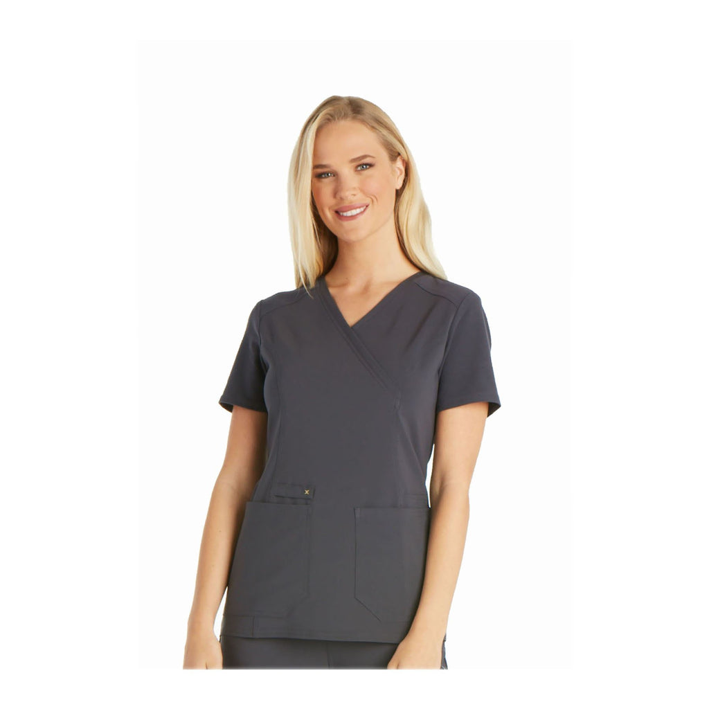 Cherokee Scrub Top iflex Mock Wrap Knit Panel Top Pewter Top