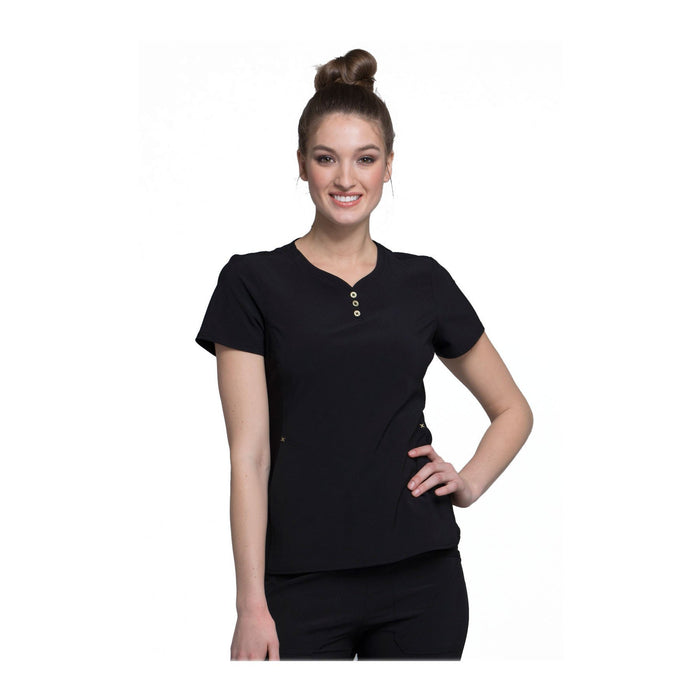 Cherokee Scrub Top iflex V-Neck Button Placket Top Black Top