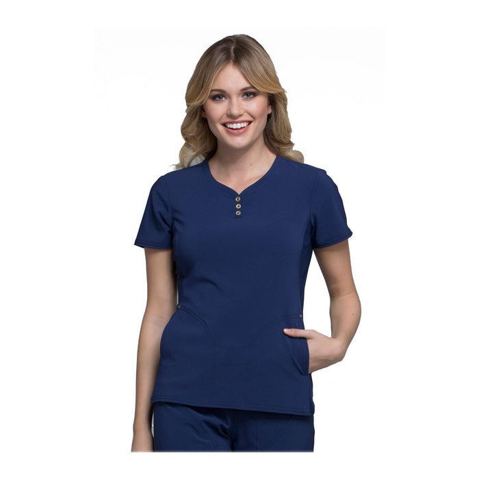 Cherokee Scrub Top iflex V-Neck Button Placket Top Navy Top
