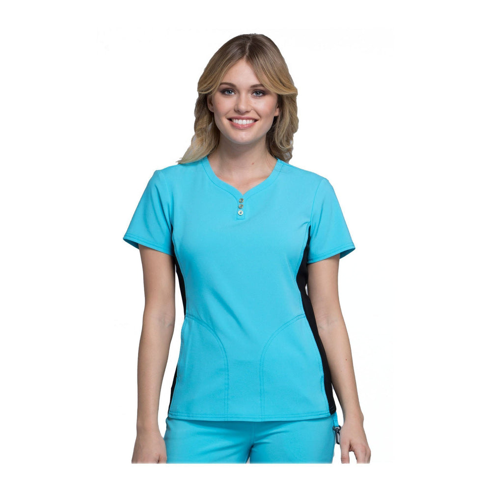 Cherokee Scrub Top iflex V-Neck Button Placket Top Turquoise Top