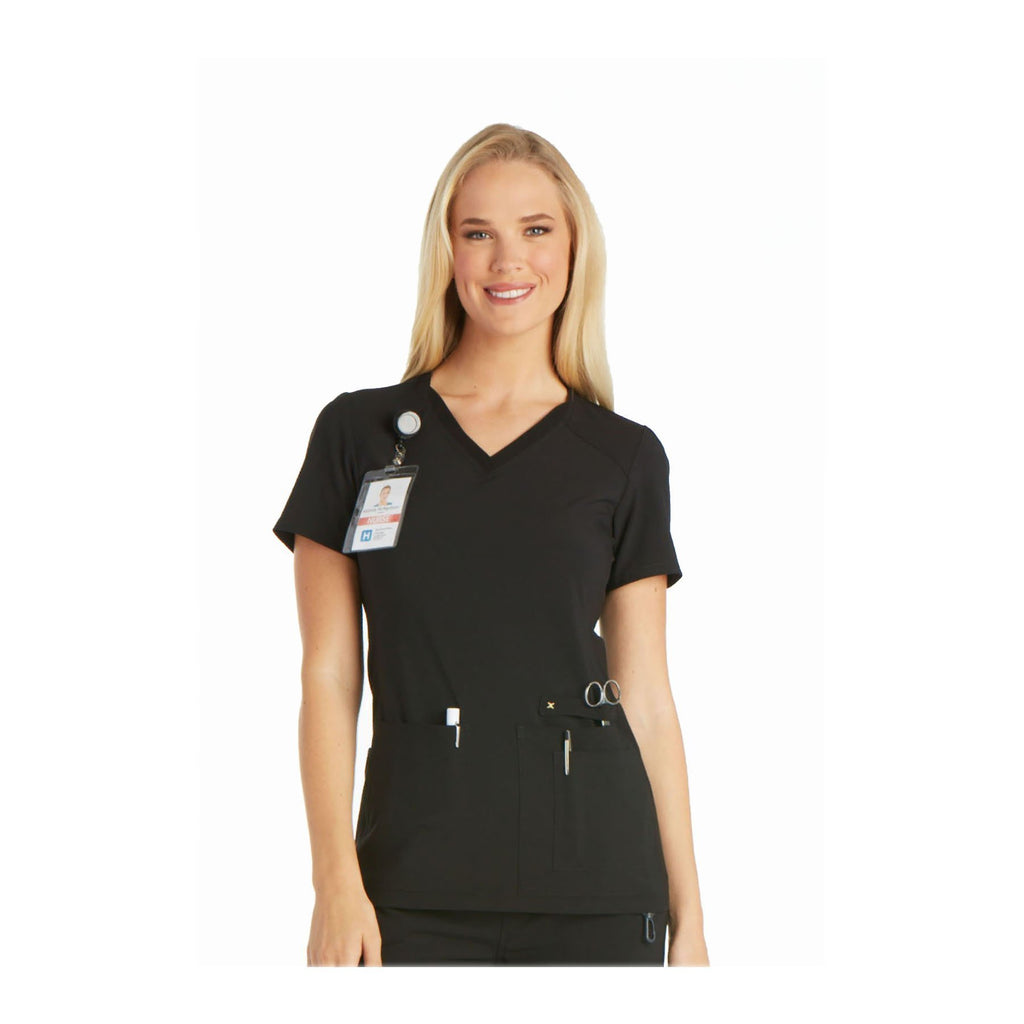 Cherokee Scrub Top iflex V-Neck Knit Panel Top Black Top