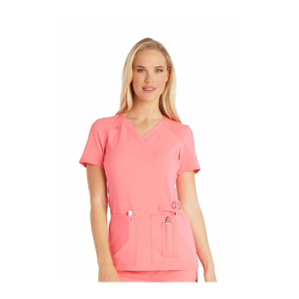Cherokee Scrub Top iflex V-Neck Knit Panel Top Karma Pink Top