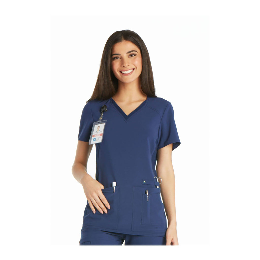 Cherokee Scrub Top iflex V-Neck Knit Panel Top Navy Top