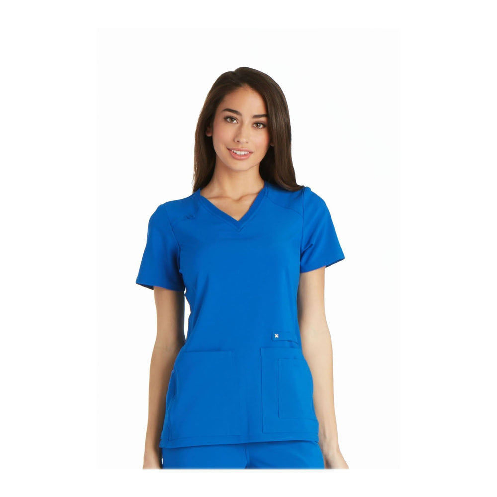 Cherokee Scrub Top iflex V-Neck Knit Panel Top Royal Top