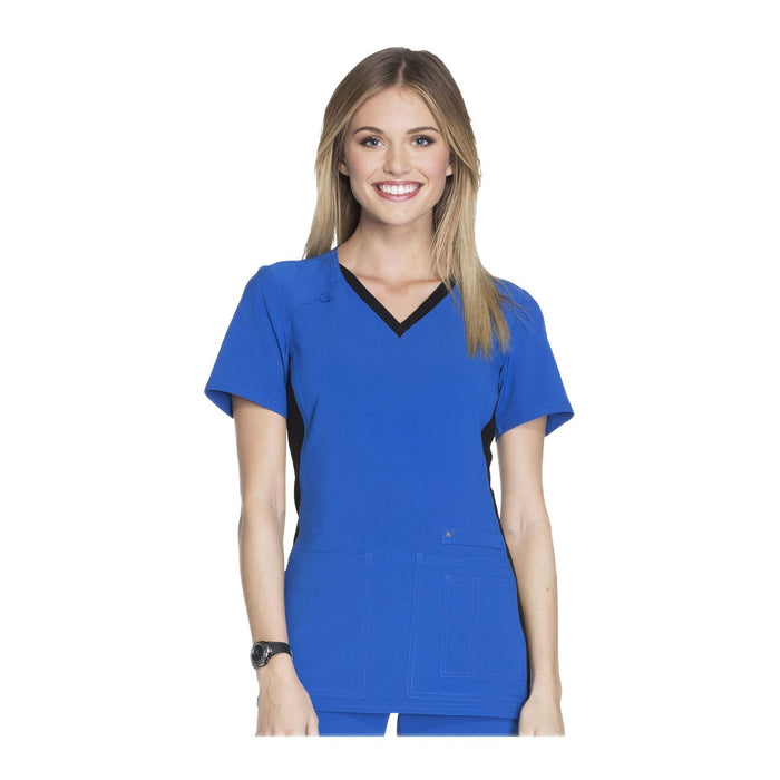 Cherokee Scrub Top iflex V-Neck Knit Panel Top Royal with Black Contrast Top