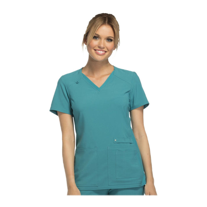Cherokee Scrub Top iflex V-Neck Knit Panel Top Teal Top