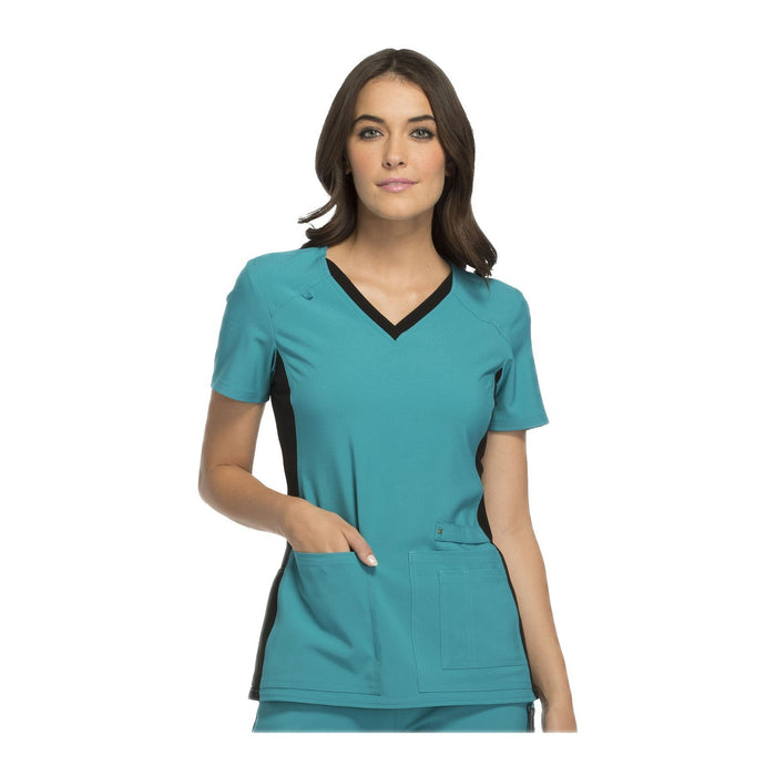 Cherokee Scrub Top iflex V-Neck Knit Panel Top Teal with Black Contrast Top