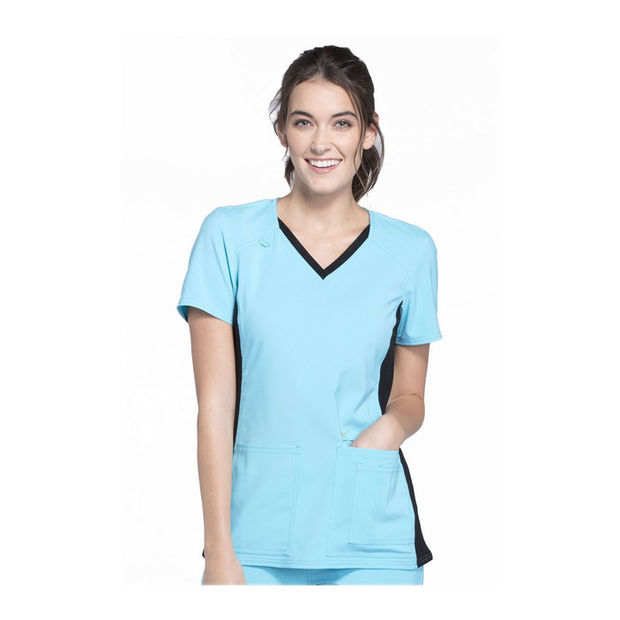 Cherokee Scrub Top iflex V-Neck Knit Panel Top Turquoise with Black Contrast Top