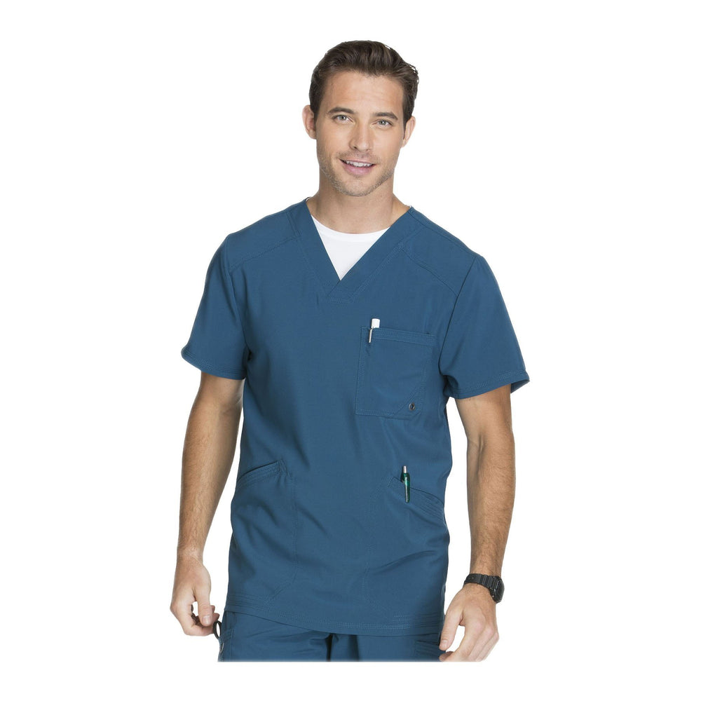 Cherokee Scrub Top Infinity Men V-Neck Top Caribbean Blue Top