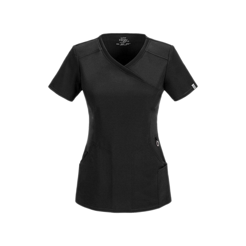Cherokee Scrub Top Infinity Mock Wrap Top Black Top