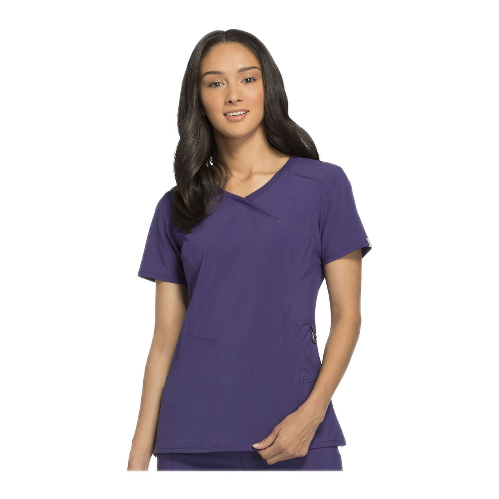Cherokee Scrub Top Infinity Mock Wrap Top Grape Top
