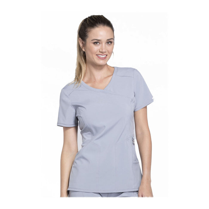 Cherokee Scrub Top Infinity Mock Wrap Top Grey Top