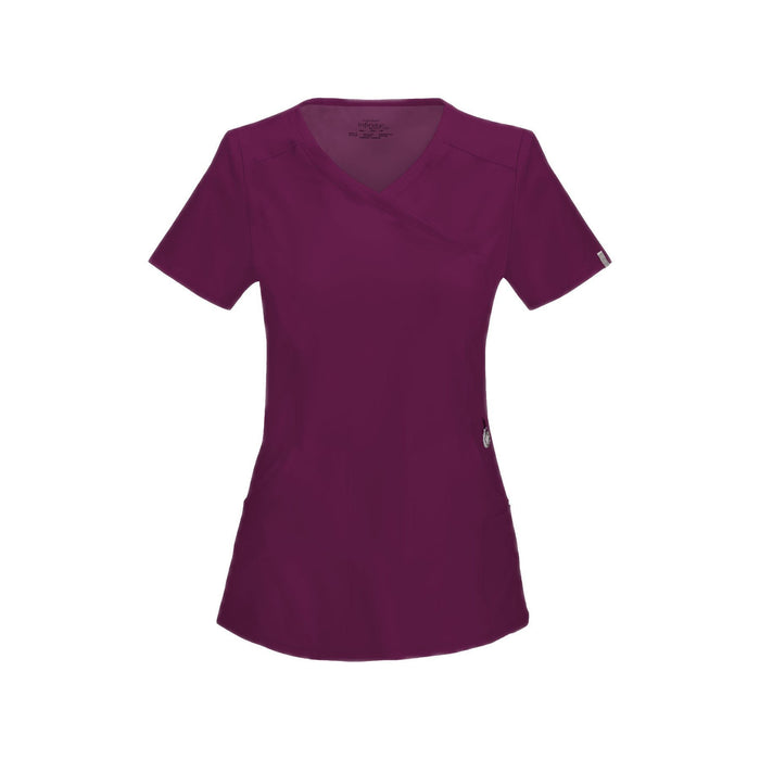 Cherokee Scrub Top Infinity Mock Wrap Top Wine Top
