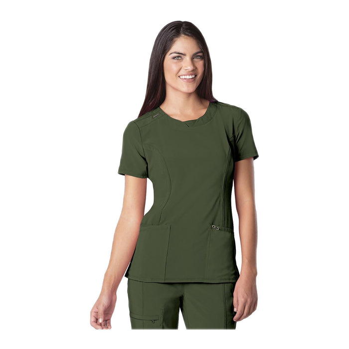 Cherokee Scrub Top Infinity Round Neck Top Olive Top