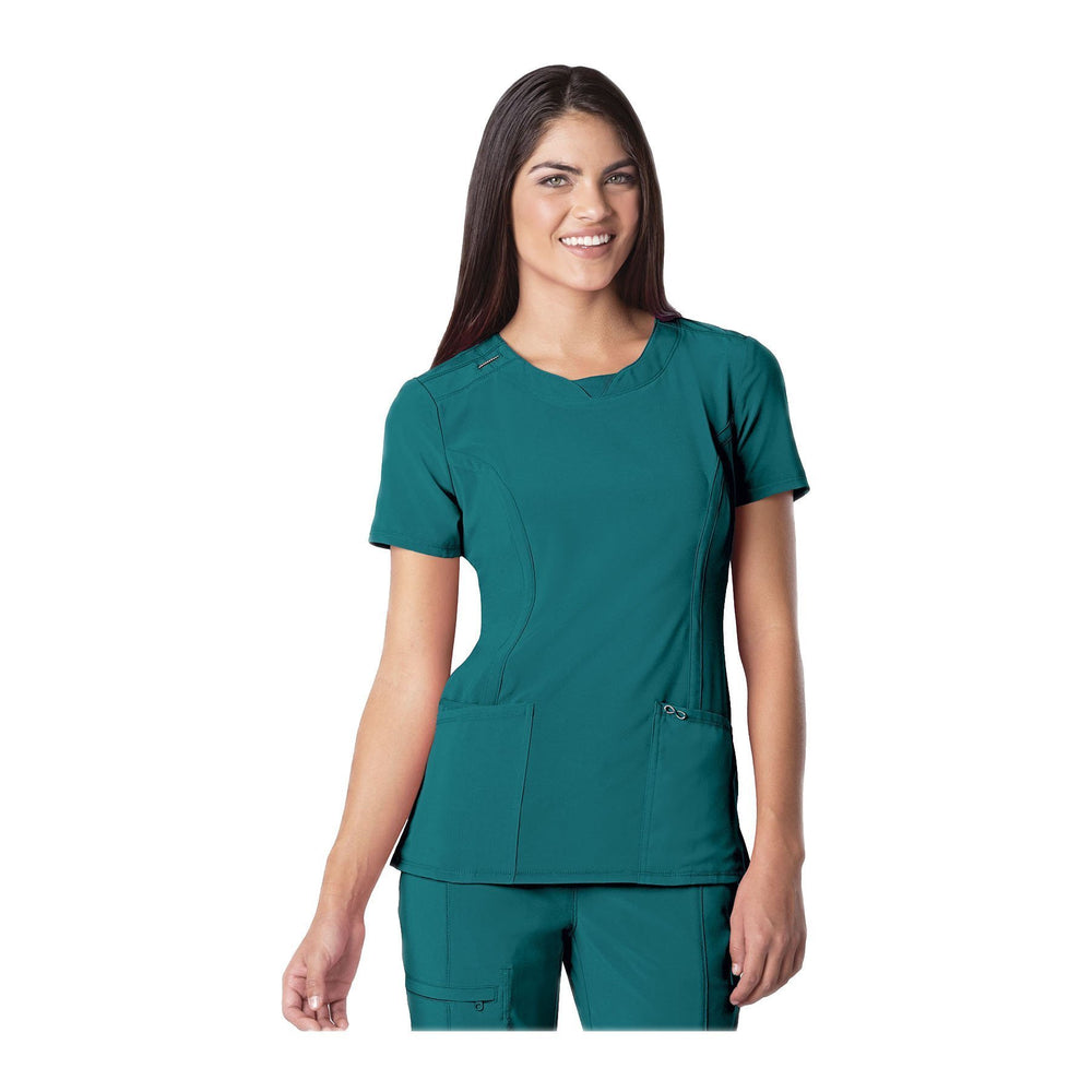 Cherokee Scrub Top Infinity Round Neck Top Teal Top