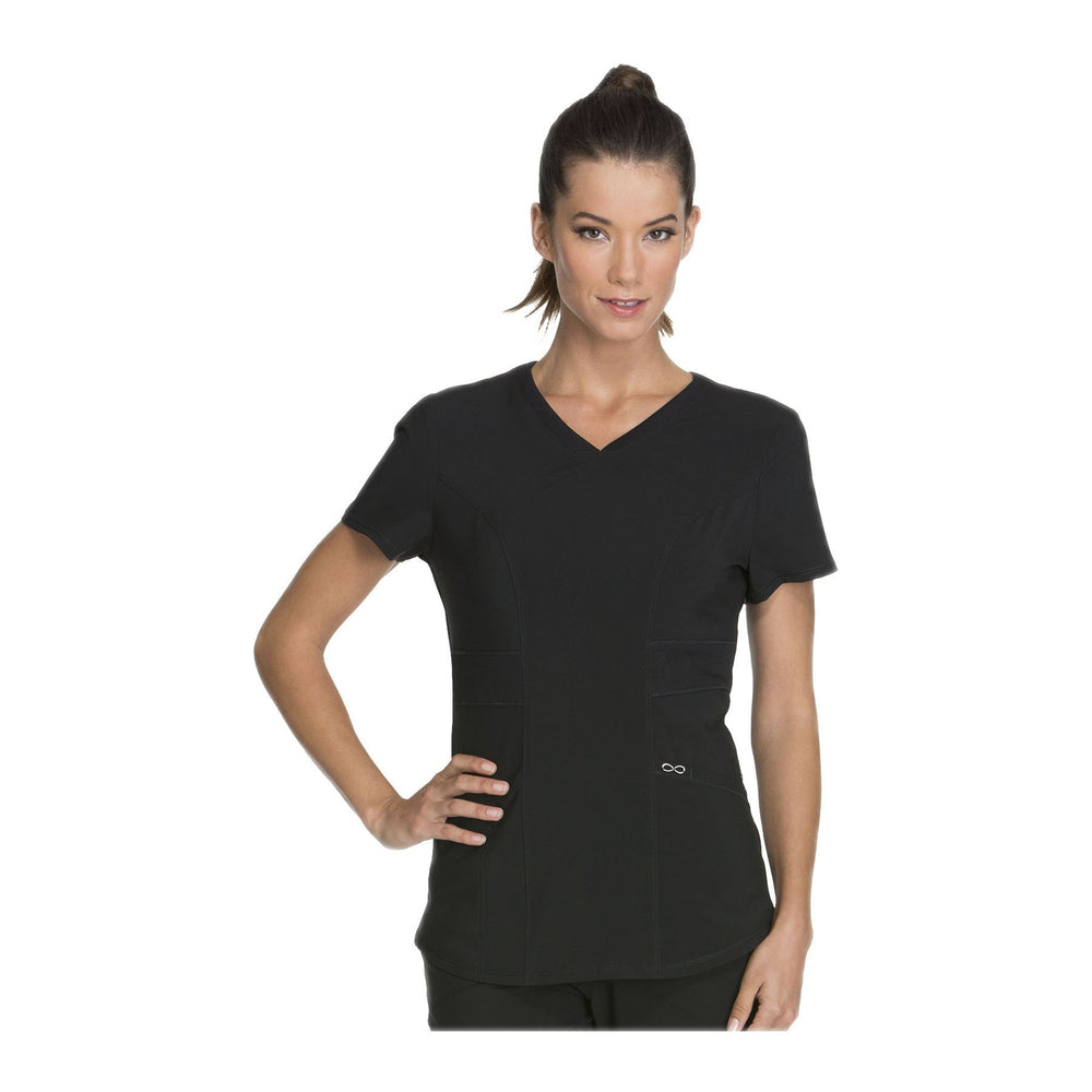 Cherokee Scrub Top Infinity V-Neck Top Black Top
