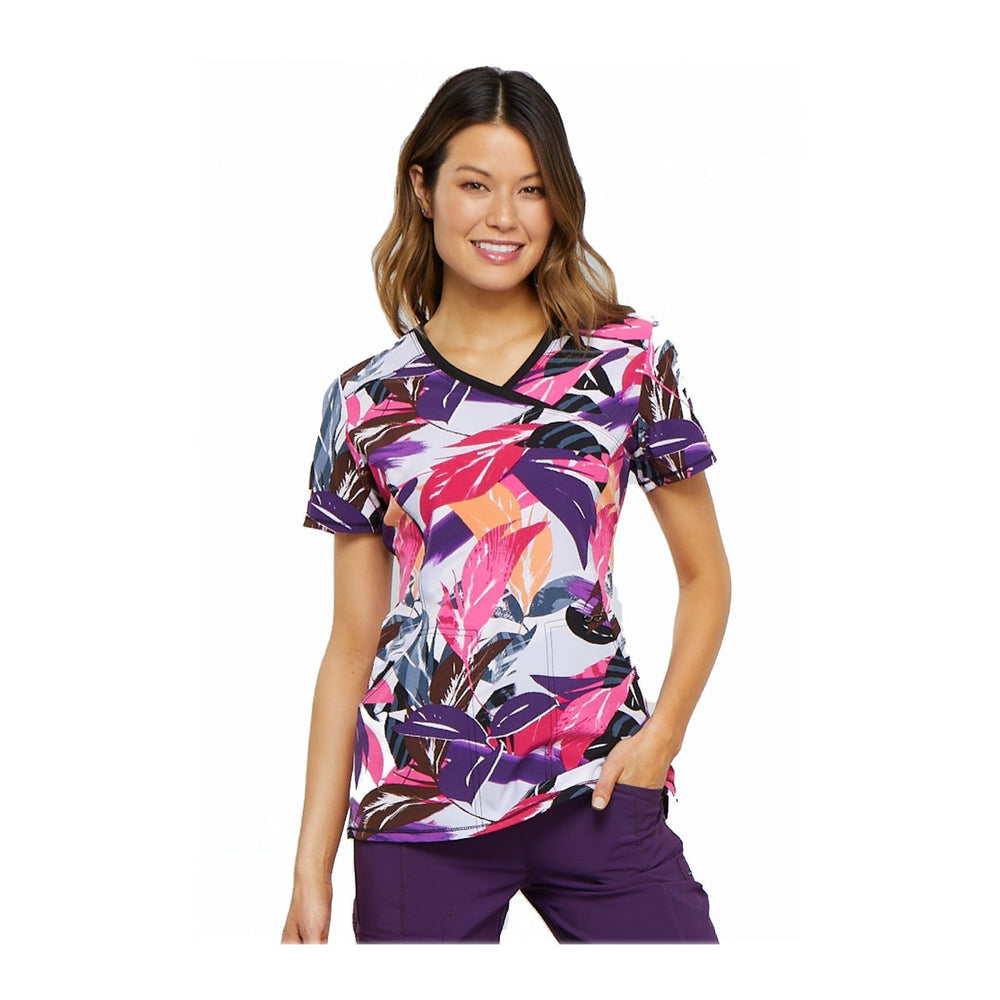 Cherokee Scrub Top Layered Love Mock Wrap Top Leafy Layers Top