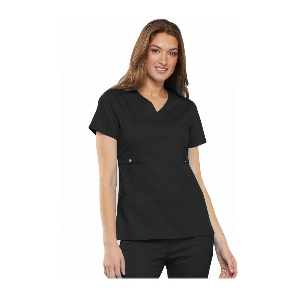 Cherokee Scrub Top Luxe Contemporary Fit Empire Waist Mock Wrap Top Black Top