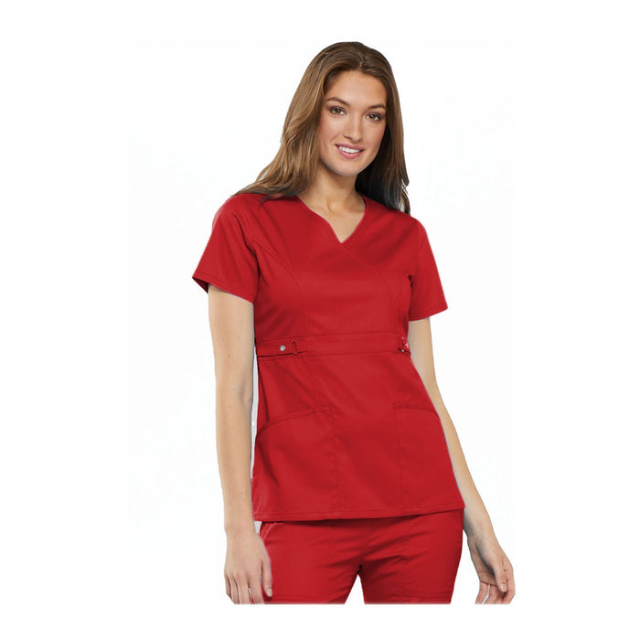 Cherokee Scrub Top Luxe Contemporary Fit Empire Waist Mock Wrap Top Red Top