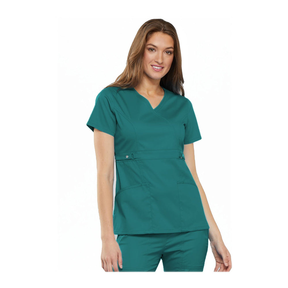 Cherokee Scrub Top Luxe Contemporary Fit Empire Waist Mock Wrap Top Teal Top