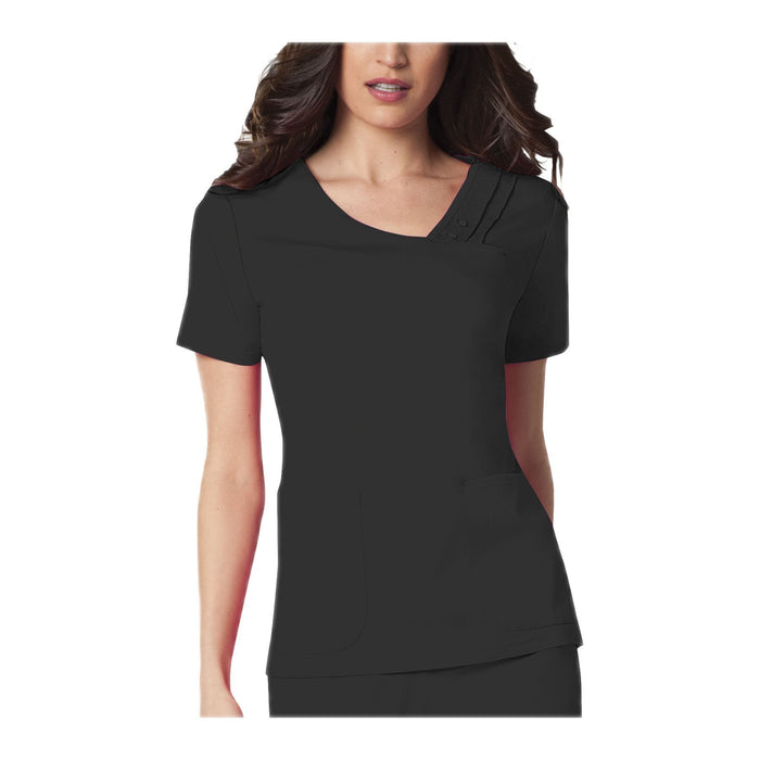 Cherokee Scrub Top Luxe Crossover V-Neck Pin-Tuck Top Black Top