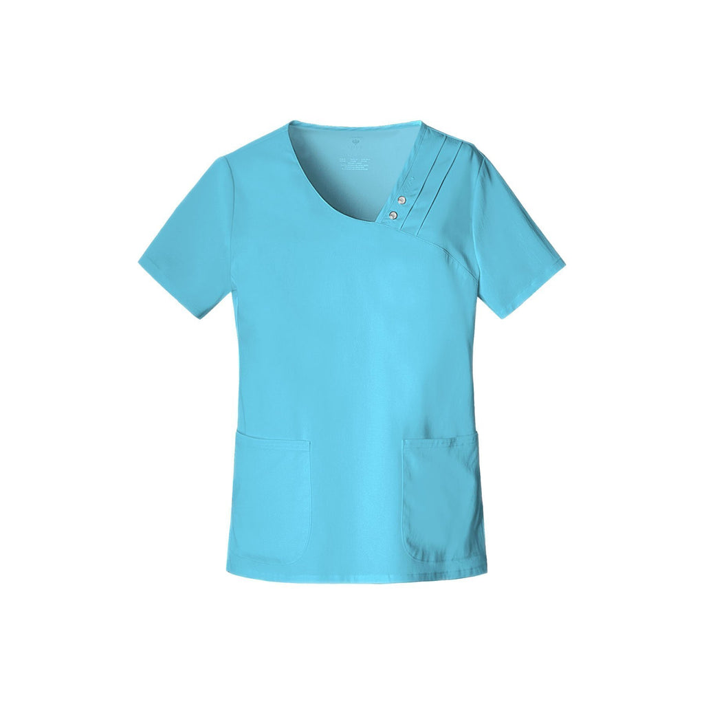 Cherokee Scrub Top Luxe Crossover V-Neck Pin-Tuck Top Blue Wave Top