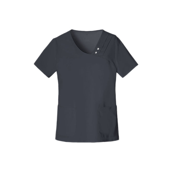 Cherokee Scrub Top Luxe Crossover V-Neck Pin-Tuck Top Pewter Top