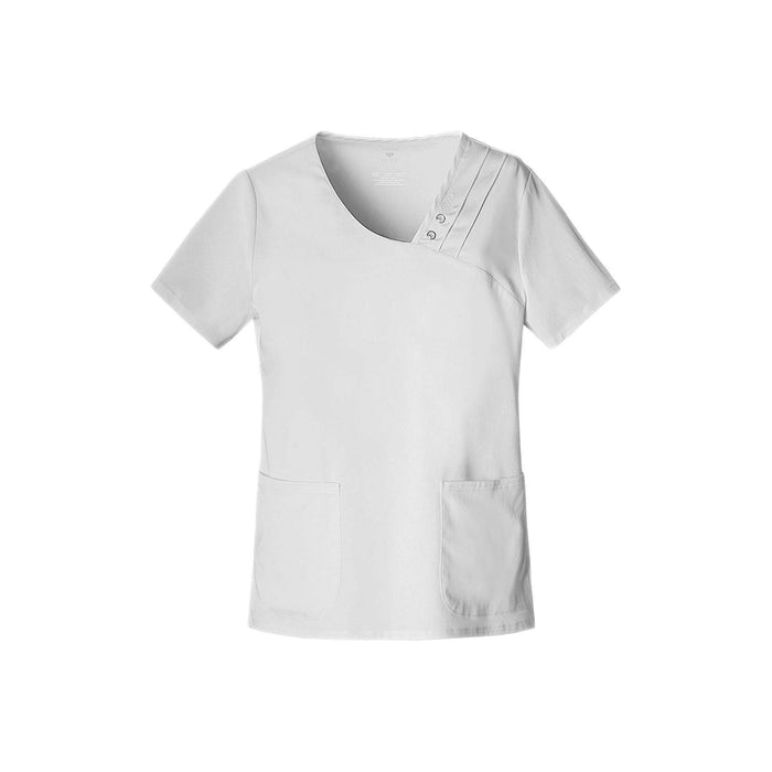 Cherokee Scrub Top Luxe Crossover V-Neck Pin-Tuck Top White Top