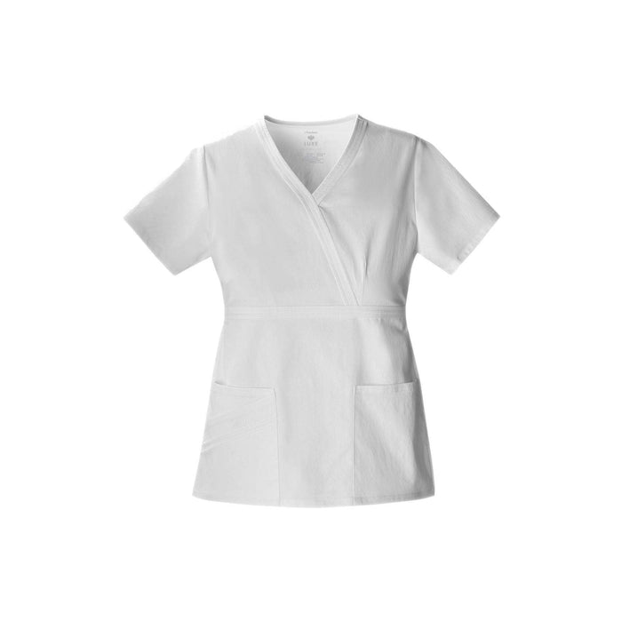 Cherokee Scrub Top Luxe Mock Wrap Top White Top