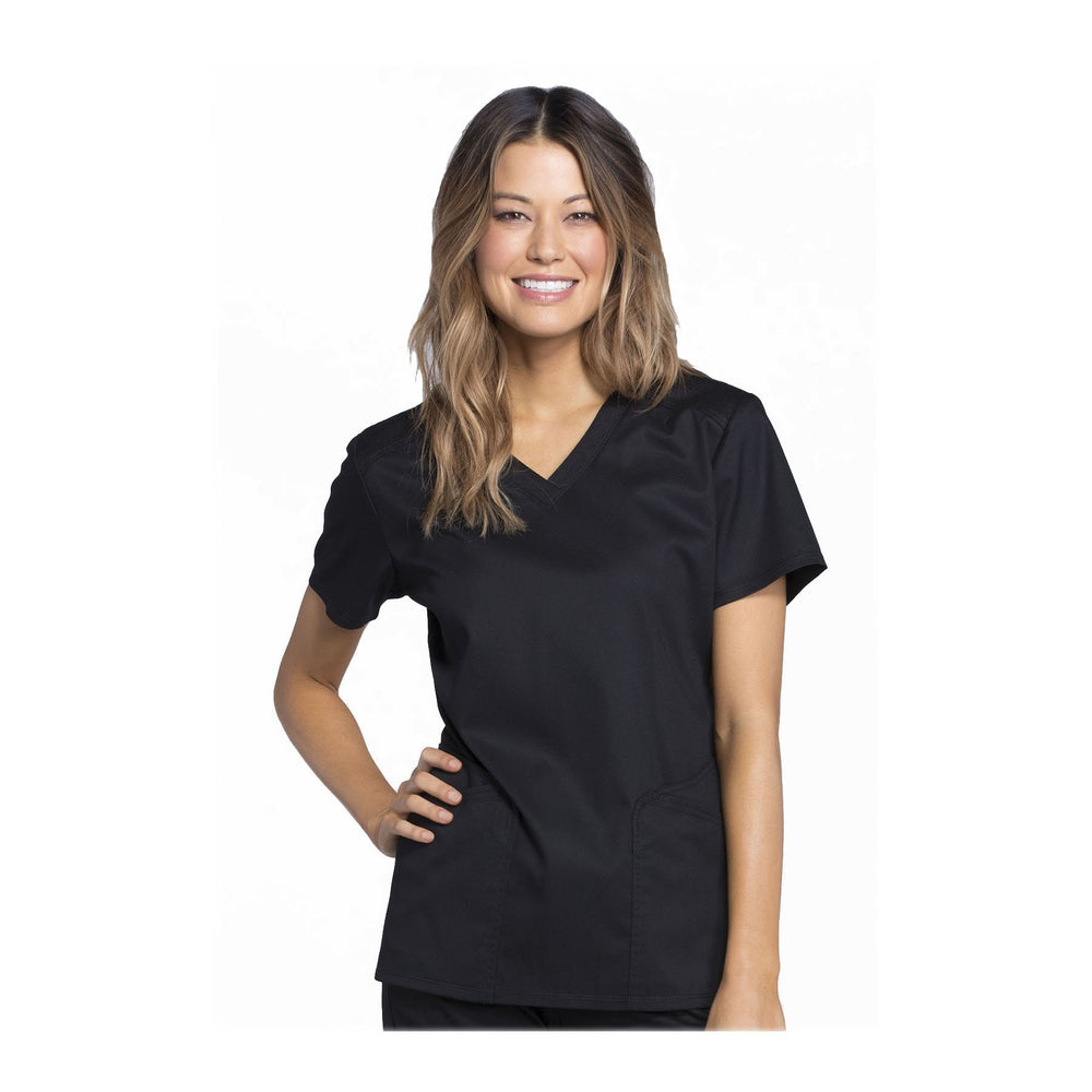 Cherokee Scrub Top Luxe Sport V-Neck Top Black Top