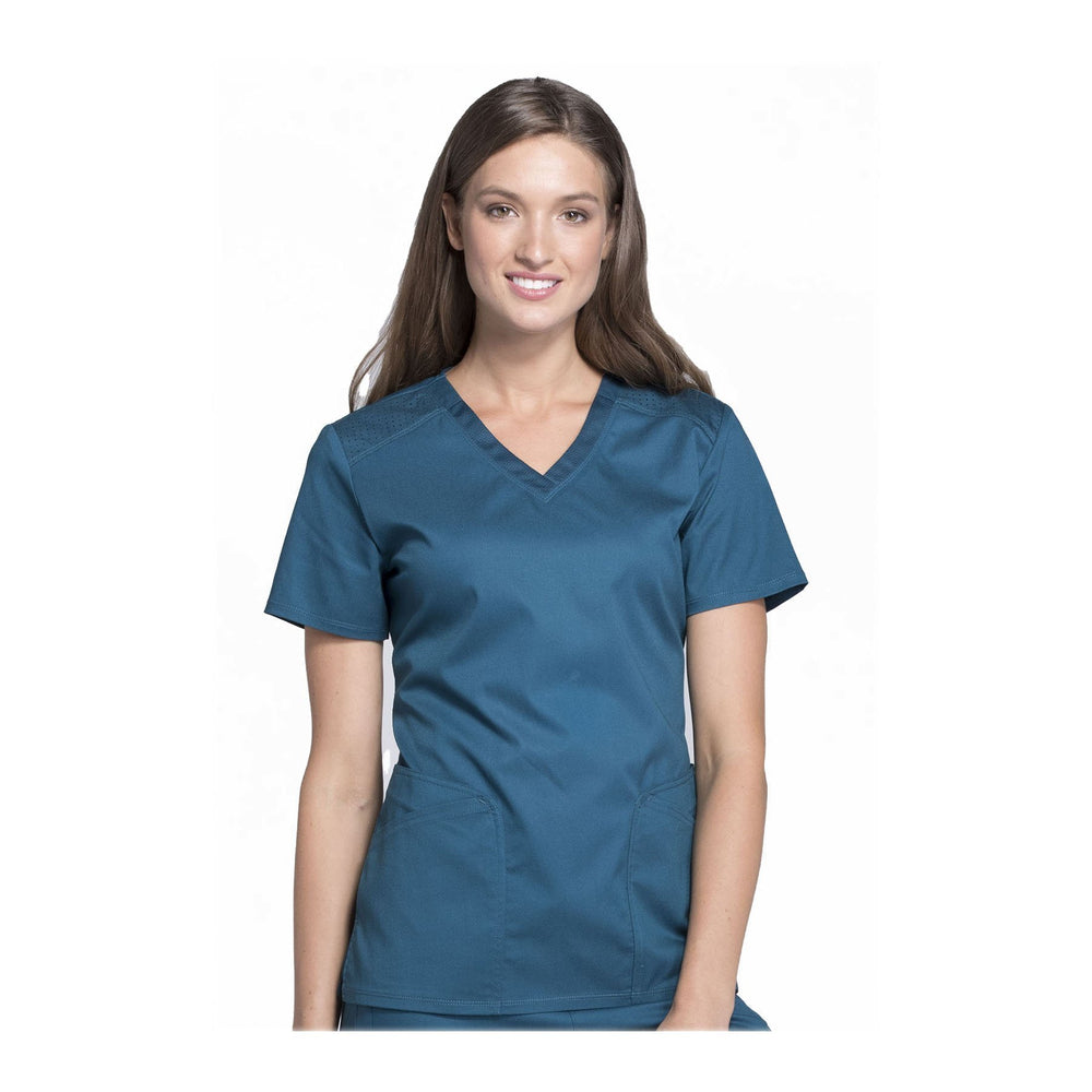 Cherokee Scrub Top Luxe Sport V-Neck Top Caribbean Blue Top