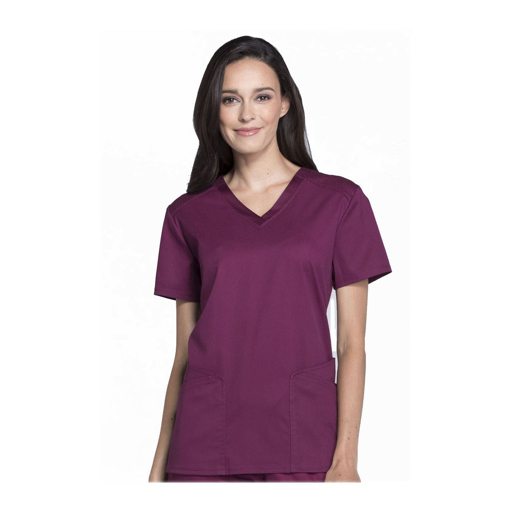 Cherokee Scrub Top Luxe Sport V-Neck Top Wine Top