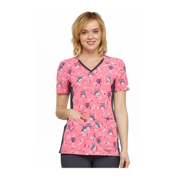Cherokee Scrub Top Party In Pink V-Neck Knit Panel Top We're Owl In Line Top