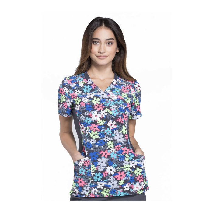 Cherokee Scrub Top Playing It Cool Mock Wrap Knit Panel Top Petals In Motion Top