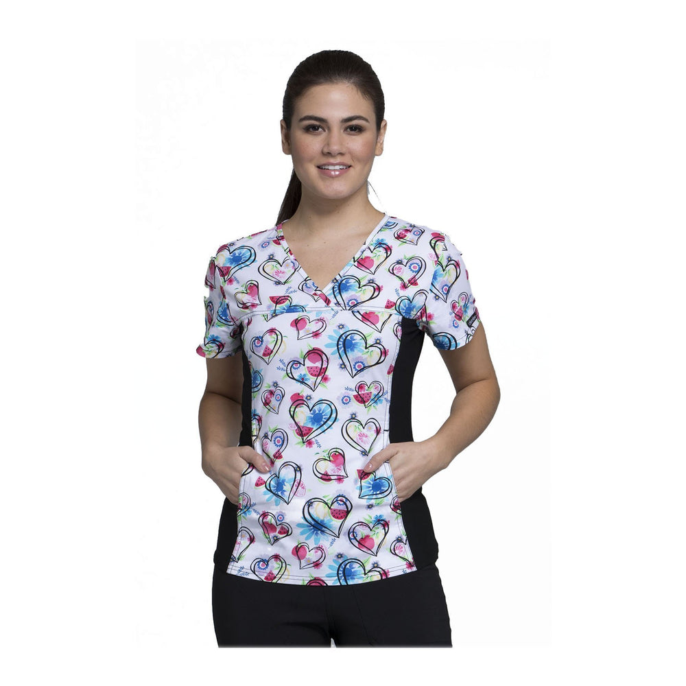 Cherokee Scrub Top Wild At Heart V-Neck Knit Panel Top Heart Healthy Top