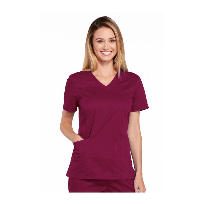 Cherokee Scrubs Workwear 4710 WW Core Stretch Top Modern Classic Wine Top
