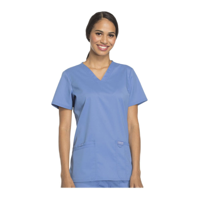 Cherokee Scrubs Workwear WW620 WW Revolution Top Modern Classic Ciel Blue Top