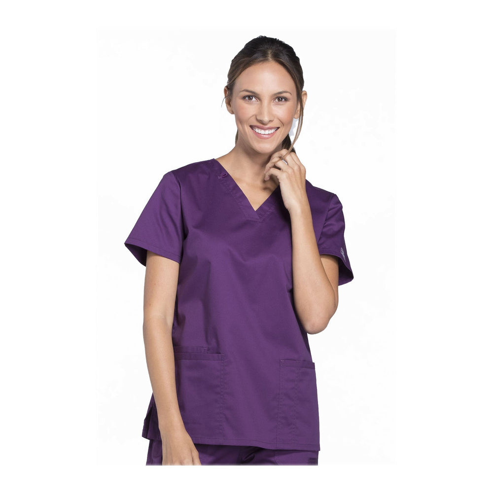 Cherokee Scrubs Workwear WW630 WW Core Stretch Top Modern Classic Eggplant Top