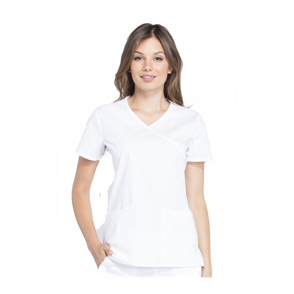 Cherokee Scrubs Workwear WW655 WW Professionals Top Modern Classic White Top