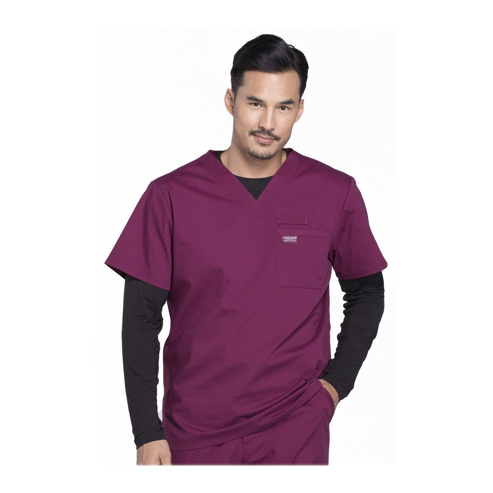 Cherokee Scrubs Workwear WW675 WW Professionals Mens Top Mens Wine Top