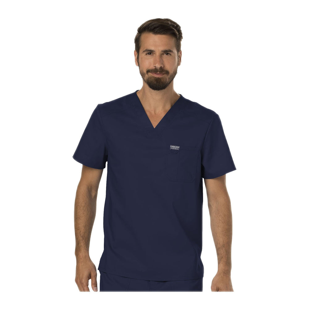 Cherokee Scrubs Workwear WW690 WW Revolution Mens Top Mens Navy Top