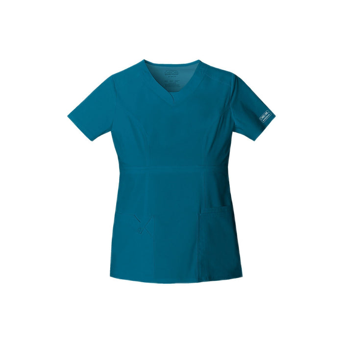 Cherokee Workwear Top WW Core Stretch Contemporary Fit V-Neck Top Caribbean Blue Top