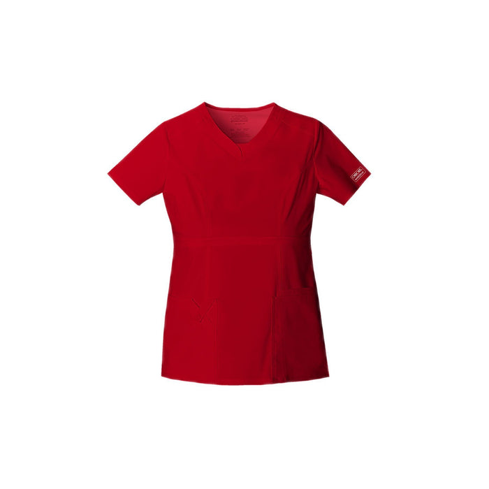 Cherokee Workwear Top WW Core Stretch Contemporary Fit V-Neck Top Red Top