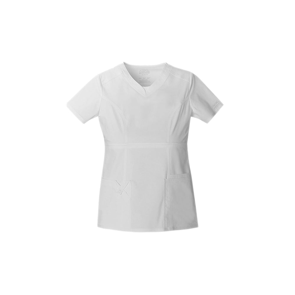 Cherokee Workwear Top WW Core Stretch Contemporary Fit V-Neck Top White Top