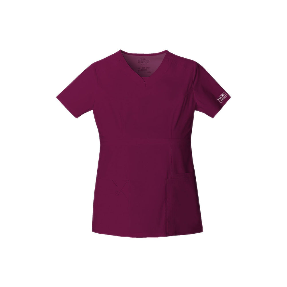 Cherokee Workwear Top WW Core Stretch Contemporary Fit V-Neck Top Wine Top