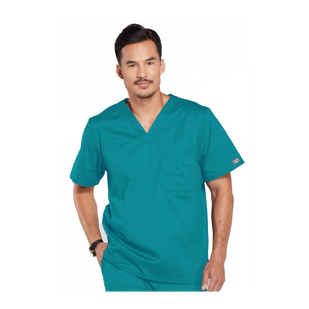 Cherokee Workwear Top WW Core Stretch Men's Men's V-Neck Top Teal Top